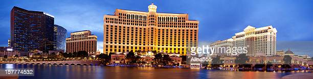 Panoramic view of Bellagio resort in Las Vegas at dusk.