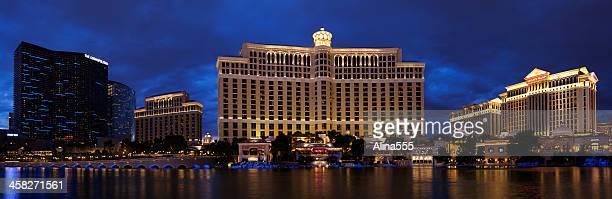 Panoramic view of Bellagio resort in Las Vegas at dusk.