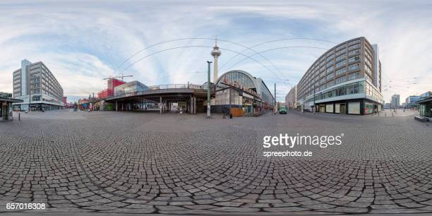360° panoramic view of berlin alexanderplatz - 全天周パノラマ ストックフォトと画像