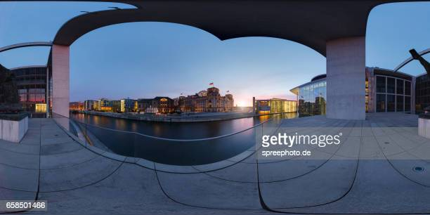 360° panoramic view of berlin government district - equirectangular panorama stock pictures, royalty-free photos & images