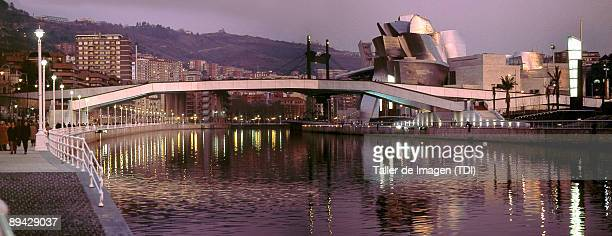 Panoramic view of Bilbao's estuary In the right side Guggenheim Museum designed by Frank O Gehry Photo by Taller de Imagen /Cover/Getty Images