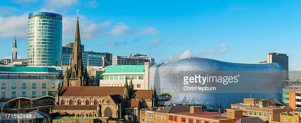 panoramic view of birmingham cityscape in england - birmingham england stock photos and pictures