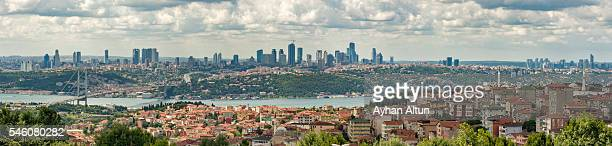 Panoramic view of Bosphorus Bridge and Besiktas-Levent Business District from Asian side Istanbul,Turkey