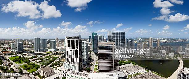 panoramic view of brickell avenue, miami, florida. u.s.a. - downtown miami stock pictures, royalty-free photos & images