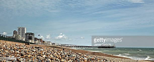 A panoramic view of Brighton beach and pier.