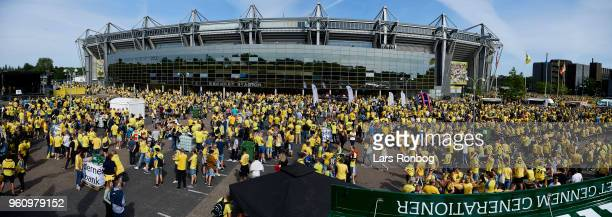 Panoramic view of Brondby IF fans in the fanzone prior to the Danish Alka Superliga match between Brondby IF and AaB Aalborg at Brondby Stadion on...