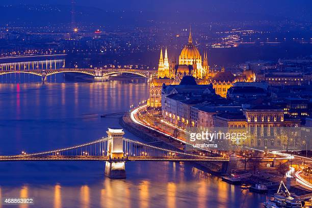 panoramic view of budapest cityscape - hungary stock pictures, royalty-free photos & images