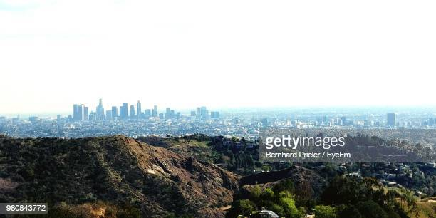 panoramic view of buildings in city against clear sky - hollywood california stock pictures, royalty-free photos & images