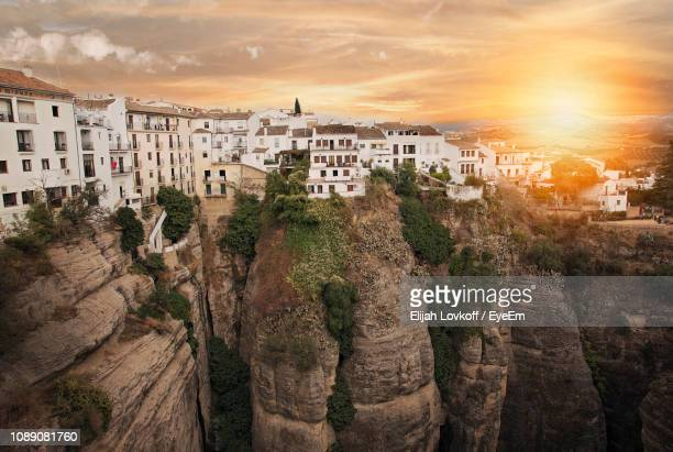 panoramic view of buildings in city - ronda stock pictures, royalty-free photos & images