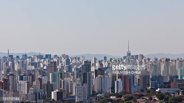Panoramic view of buildings near the Congonhas Airport in Sao Paulo Brazil on August 11 2011 AFP PHOTO/YASUYOSHI CHIBA