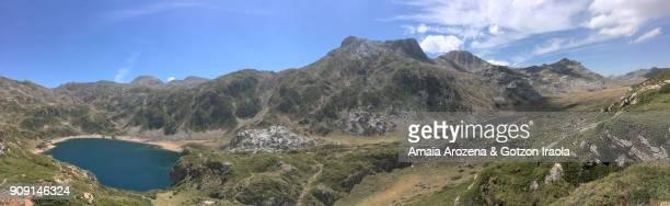 Panoramic view of Calabazosa and Cerveiriz lakes. Somiedo Natural Park, Asturias, Spain.