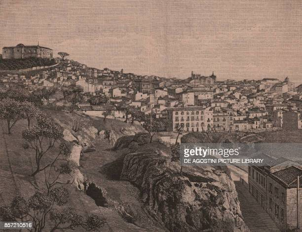 Panoramic view of Caltanissetta Sicily Italy woodcut from Le cento citta d'Italia illustrated monthly supplement of Il Secolo Milan 1892