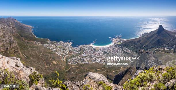 Panoramic view of Camps Bay from Table Mountain, Cape Town