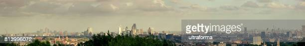 Panoramic view of Canary Wharf, City of London, The Shard and Elephant and Castle at day