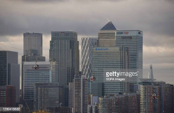 Panoramic view of Canary Wharf in London.