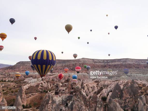 Panoramic view of Cappadocia. Cappadocia is known around the world as one of the best places to fly with hot air balloons. Goreme, Cappadocia, Turkey. Landscape background.