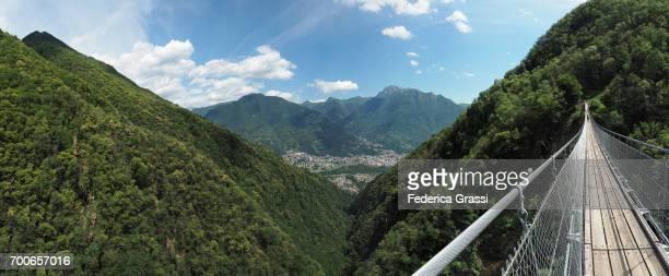 Panoramic View of Carasc Suspension Bridge, Canton of Ticino