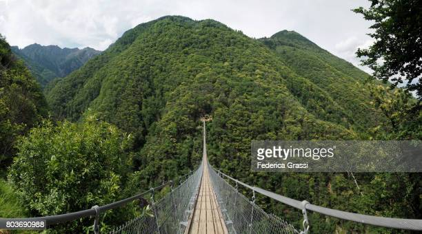 Panoramic View of Carasc Suspension Bridge, Canton of Ticino