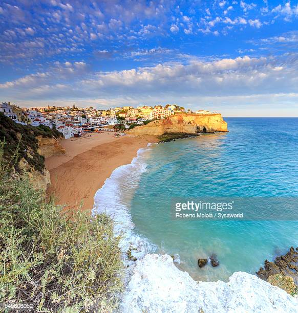 Panoramic view of Carvoeiro at sunset Portugal
