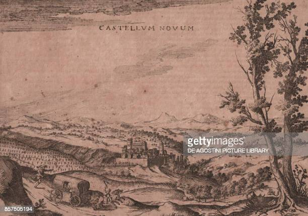 Panoramic view of Castello Nuovo and its surroundings Umbria Italy burin engraving ca 25x18 cm from Nova et accurata Italiae hodiernae descriptio by...