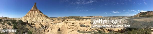 panoramic view of castildetierra natural monument in bardenas reales, navarre - pinnacle peak stock pictures, royalty-free photos & images