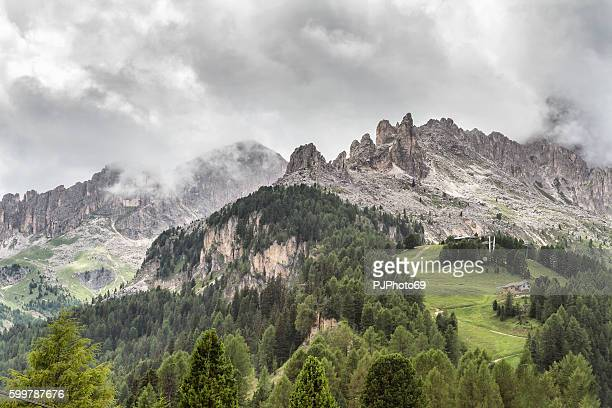 panoramic view of catinaccio and latemar mountains - dolomites italy - pjphoto69 photos et images de collection
