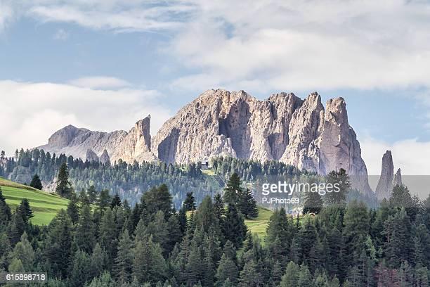 vista panoramica sulle montagne del catinaccio - dolomiti italia - pjphoto69 foto e immagini stock
