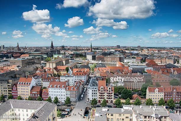 Panoramic view of central Copenhagen, Denmark