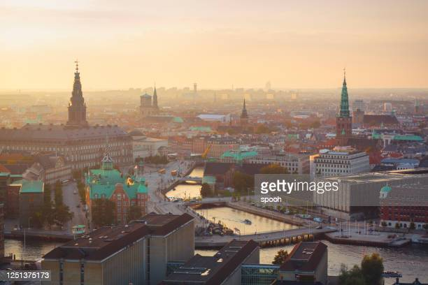 panoramic view of central copenhagen. - christiansborg palace stock pictures, royalty-free photos & images