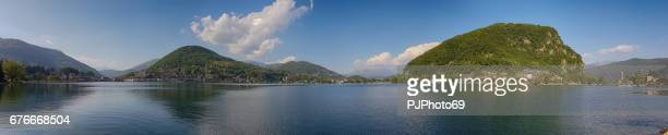Panoramic view of Ceresio Lake or Lugano Lake