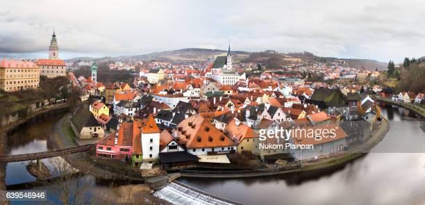 Panoramic view of Cesky Krumlov, Czech Republic