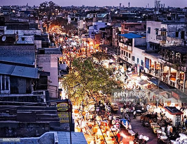 panoramic view of chandni chowk, delhi, india - old delhi stock photos and pictures