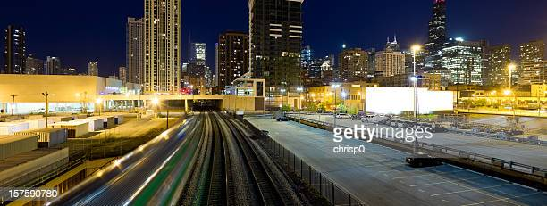 panoramic view of chicago at twilight (xxxl) - metra train stock photos and pictures