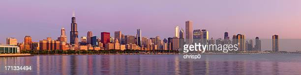 Panoramic View of Chicago Skyline at Dawn