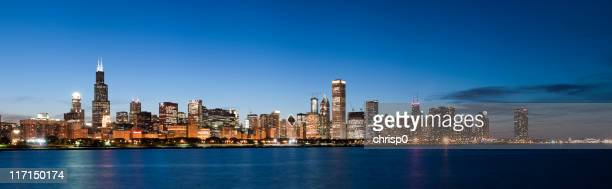 Panoramic View of Chicago Skyline at Dusk