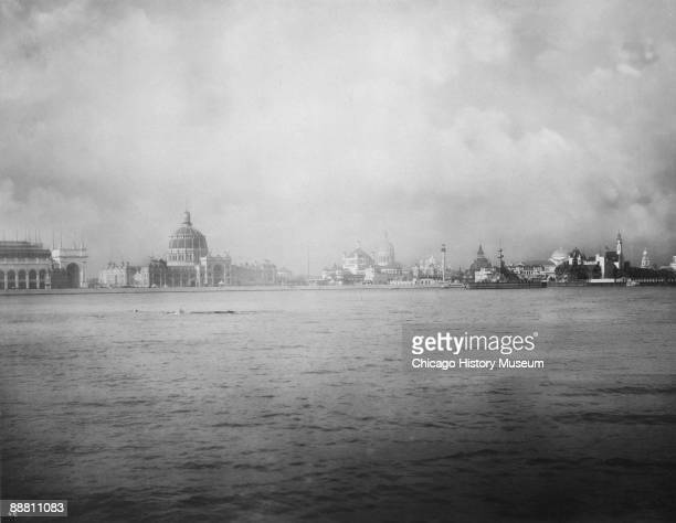 A panoramic view of Chicago's World's Columbian Exposition of 1893 taken from Lake Michigan Chicago IL 1893