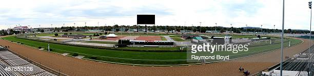 Panoramic view of Churchill Downs race track at Churchill Downs, home of the Kentucky Derby on October 05, 2014 in Louisville, Kentucky.