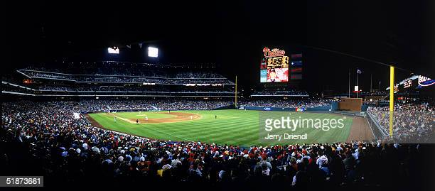 Panoramic view of Citizens Bank Park from right field corner at night during a game between the Montreal Expos and the Philadelphia Phillies on April...