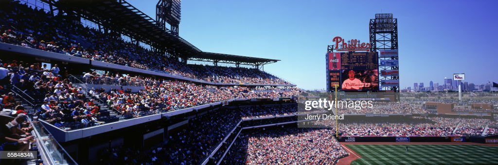 Panoramic view of Citizens Bank Park third base stands with scoreboard and skyline in the background during a game between the Philadelphia Phillies and the New York Mets on June 23, 2005 in Philadelphia, Pennsylvania. The Mets won 4-3.