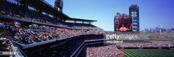 Panoramic view of Citizens Bank Park third base stands with scoreboard and skyline in the background during a game between the Philadelphia Phillies...