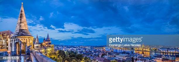 Panoramic view of city Budapest from Fisherman Bastion on the Buda Castle - the capital of Hungary.