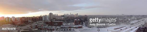 panoramic view of city during winter at sunset - mississauga stock pictures, royalty-free photos & images