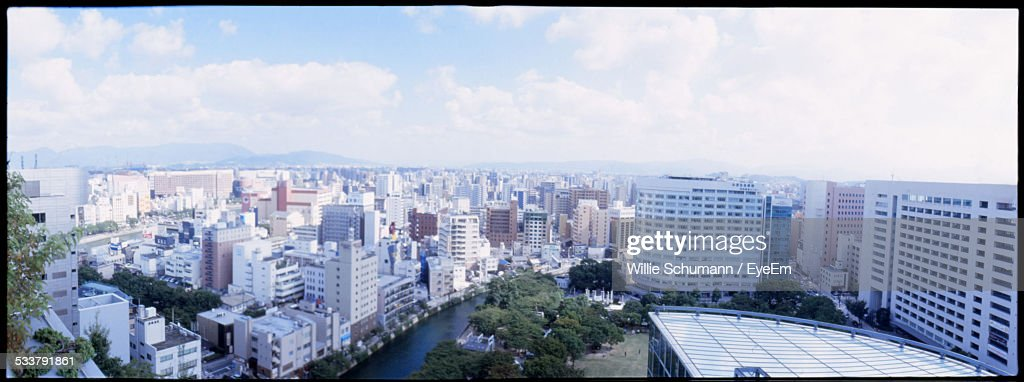 Panoramic View Of City With Concrete Blocks : Foto stock