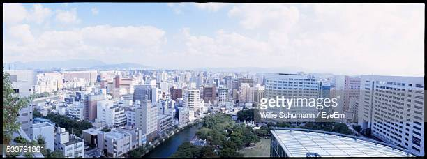 Panoramic View Of City With Concrete Blocks
