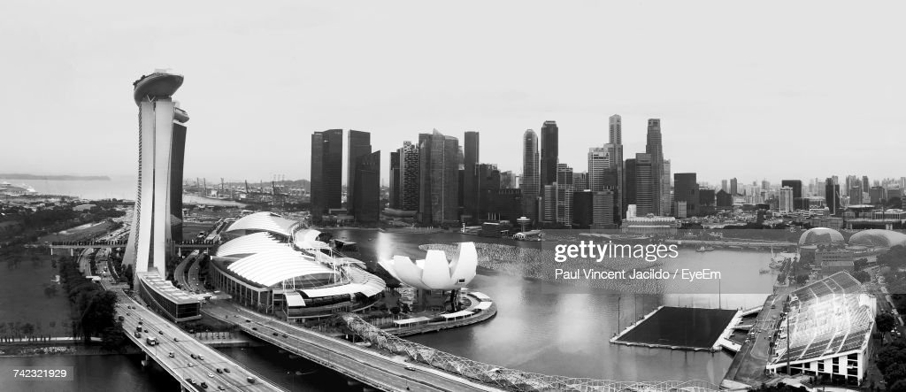 Panoramic View Of Cityscape Against Clear Sky : Stock Photo