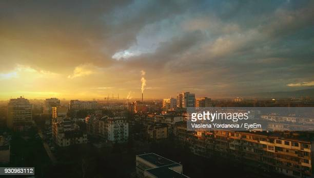 panoramic view of cityscape against sky during sunset - bulgaria stock pictures, royalty-free photos & images