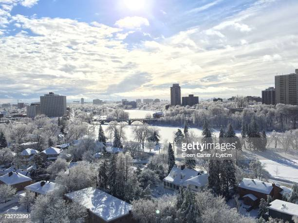 Panoramic View Of Cityscape Against Sky During Winter