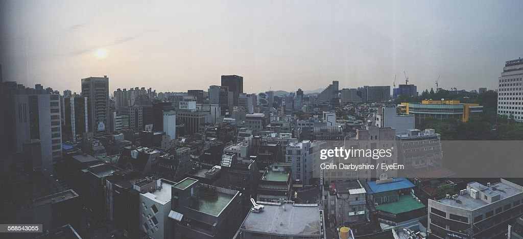 Panoramic View Of Cityscape Against Sky : Stock Photo