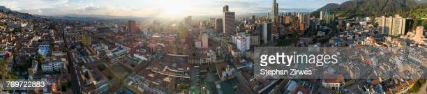 panoramic view of cityscape during sunset, bogota, columbia - bogota stock pictures, royalty-free photos & images