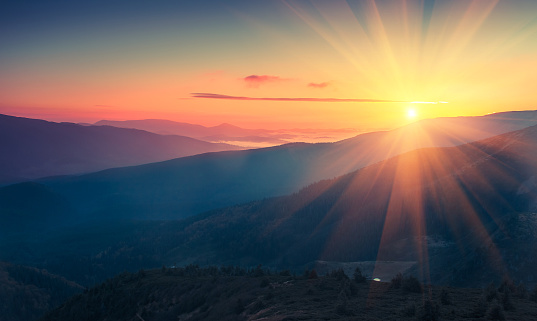 Panoramic view of  colorful sunrise in mountains. 620951116